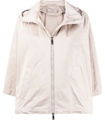 peserico hooded taffeta cropped jacket - neutrals