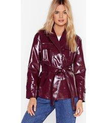 i'm totally vinyl belted jacket