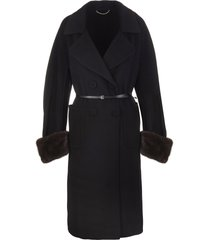long black coat in wool and mink