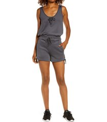blanc noir lace-up romper, size medium in charcoal at nordstrom