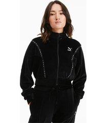 cropped velour full zip sweater voor dames, zwart, maat m | puma