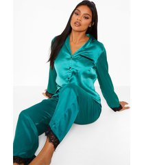 mix & match satijnen pyjama blouse met kanten zoom, emerald