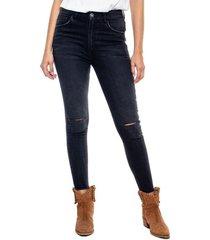 high waist skinny black denim jeans con rajadas en rodilla y ruedo al corte color blue