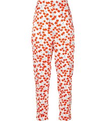 victoria victoria beckham cherry-print cropped trousers - red