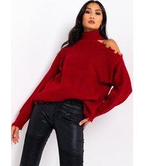 akira rest dont stress cold shoulder distressed sweater