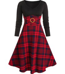 plaid print o-ring long sleeve dress