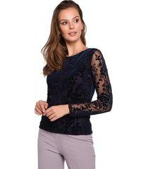 blouse makover k024 flock kanten blouse - marineblauw