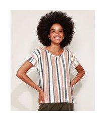 camiseta feminina ampla listrada manga curta decote redondo off white