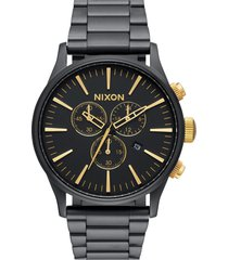 nixon 'the sentry' chronograph bracelet watch, 42mm in black matte/gold at nordstrom