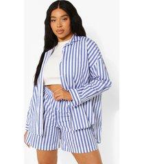 plus oversized gestreept overhemd en shorts set, blue