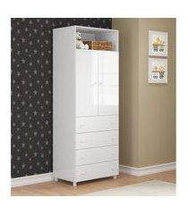 guarda-roupa/roupeiro multimóveis rafael 2 portas e 4 gavetas branco branco
