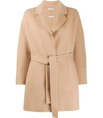 p.a.r.o.s.h. belted fine knit coat - neutrals