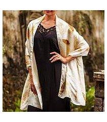 silk shawl, 'ganitri leaves' (indonesia)