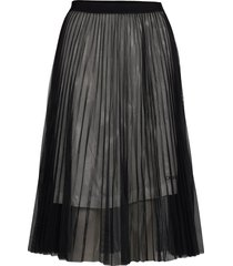 pleated mesh double layer skirt knälång kjol svart calvin klein jeans