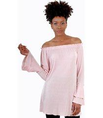 blusa elastica plizada rosa night concept