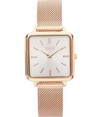orologio solo tempo con cinturino e cassa in acciaio rosato per donna