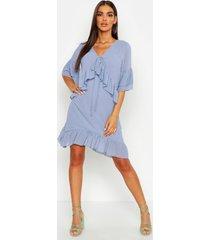 oversized dobby ruffle smock dress, washed blue