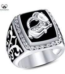 men's band capricorn zodiac sign ring white gold plated 925 silver round cut cz