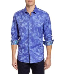 men's robert graham rose classic fit button-up sport shirt, size xx-large - blue
