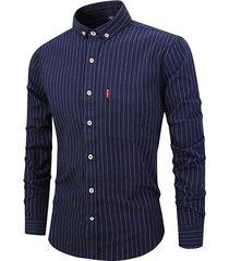 moda casual a righe manica lunga abbassa il colletto sottile fit camicia traspirante per uomo