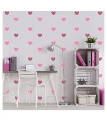 adesivo de parede quartinhos corações rosa