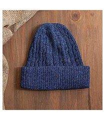 100% alpaca knit hat, 'comfy in dark blue' (peru)