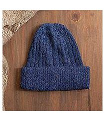 100% alpaca knit hat, 'comfy in dark blue' (peru)