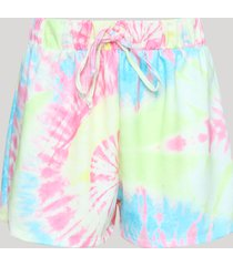 short de moletom feminino estampado tie dye multicor