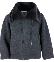 fabiana filippi short jacket in wool blend knit with kimono sleeve and shearling collar with zip closure