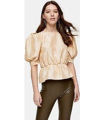natural short sleeve puff taffeta blouse - nude