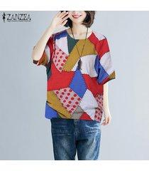 zanzea las mujeres más del tamaño ocasional del verano del cuello de o holgada camiseta de las tapas de la blusa de la túnica tee -rojo