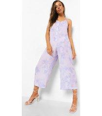 tie dye culotte jumpsuit met bandjes, lilac
