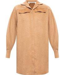 camel fibre long-line shirt