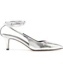 isabel marant 70mm ankle-tie pumps - silver