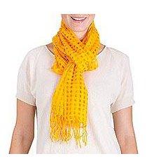 cotton scarf, 'saffron yellow net' (guatemala)
