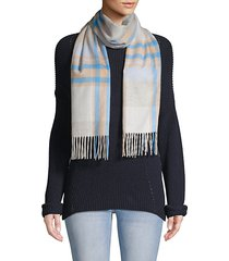 grid plaid cashmere scarf
