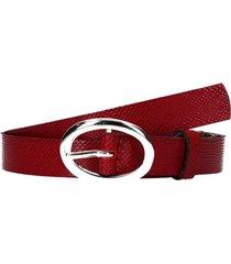 cinturón cuero clásico mujer rojo pollini