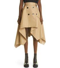 women's sacai asymmetrical gabardine skirt, size 4 - beige