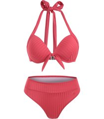 halter ribbed knot push up full coverage bikini swimwear