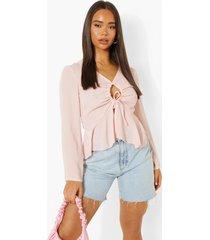 blouse met lange mouwen en o-ring detail, blush