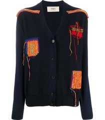 ports 1961 knitted patchwork cardigan - blue