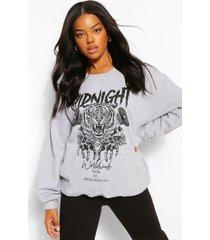oversized midnight sweater met opdruk, grijs gemêleerd