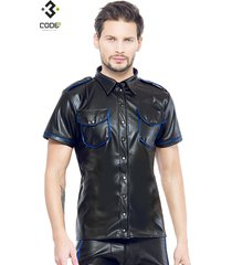 code8 by xxx collection zwart leren heren shirt met blauwe biezen