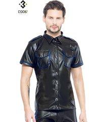 * code8 by xxx collection zwart leren heren shirt met blauwe biezen