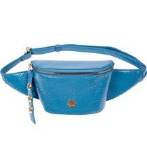 pochete ana hickmann verniz craquelado com zíper azul