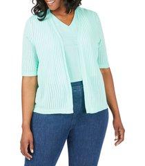 plus size women's foxcroft clarabelle stripe stitch cardigan