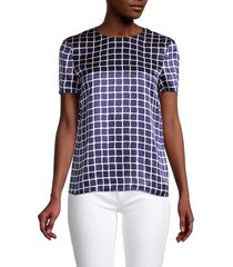 theory women's checker silk top - bright navy - size m