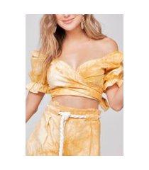 top cropped amarração costa linho tie dye amarelo