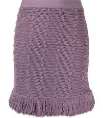 bottega veneta knitted skirt with fringed bottom