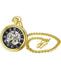 stuhrling men's gold tone stainless steel chain pocket watch 48mm